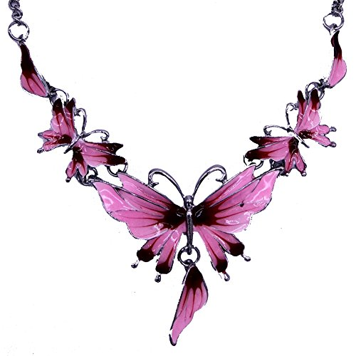 SDLM Acrylic Butterfly Costume Jewelry Charm Pendant Collar Necklace Stud Earrings Set(p)