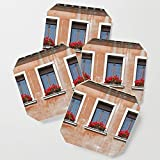 Society6 Drink Coasters, Three Windows in Venice by brookeryanphotography, set of 4