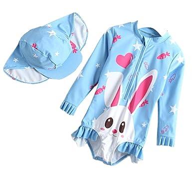 4d3c01e28a8df Toddler Baby Girls One Piece Swimsuits Long-Sleeve Cute Rabbit Ruffles  Swimwear Set Rash Guard