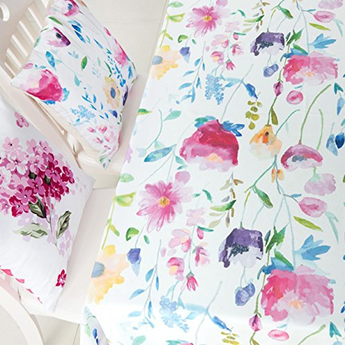 KindoBest Floral Pattern Tablecloth Rectangular Oxford Polyester Colorful Washable for Dinner/Picnic/Home Decoration Assorted Size (55×95 inch) ()