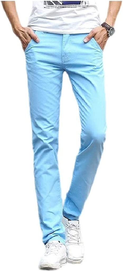 Nicellyer Mens With Pocket Mid Waist Fashion Cotton Pure Color Thin Work Pant
