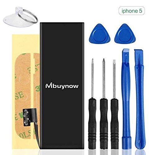 Mbuynow Batería del iPhone 5,Kit de Reparación Completo con Herramientas e Instrucciones de Alta apacidad (1440mAh) Nuevo 0 Ciclo