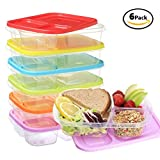 """Sealcom 3 Compartment Lunch Box Set – Pack of 6 - Easy Open Colored Lids – Reusable Meal Prep Bento Box - Divided Food Storage Containers – BPA Free - Dishwasher and Microwave Safe – 9.3"""" x6.2"""" x5"""""""