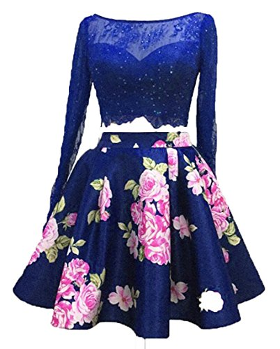 Spitzen Sleeve Royal 2016 Kurz Fanciest Two Blue Abendkleider Kleider Dress Piece Heimkehr Lang FZgfqv