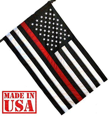 (US Flag Factory 2.5x4 FT Thin Red Line American Flag (Pole Sleeve) (Embroidered Stars, Sewn Stripes) for Firefighters - Outdoor SolarMax Nylon - Made in America)