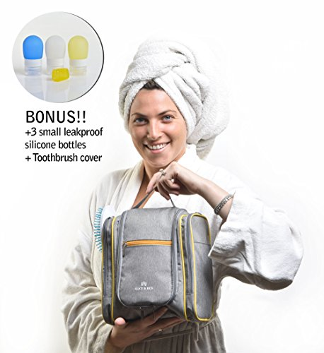 Hanging Toiletry Bag – Large Travel Toiletries Organizer with Strong Metal Hook, Zippers – Waterproof, Compact, Portable Mens & Womens Toiletry Kit Hiking Bag – Unisex Shower Bag by Alice & Ben, Grey by Alice & Ben (Image #1)