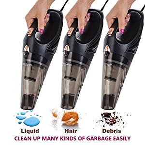 Car Vacuum - Car Vacuum Cleaner With High Suction Power 4.3 KPa Handheld Portable Auto Detailer Wet Dry - Pet Hair - Upholstery - Power Cord 16.7FT(5m) - Incl.Extra Filter and Replaceable Fuse