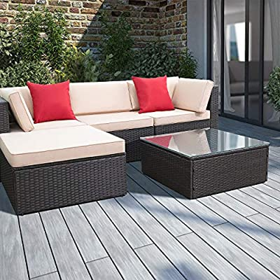 Devoko 5 Pieces Patio Furniture Sets All-Weather Outdoor Sectional Sofa Manual Weaving Wicker Rattan Patio Conversation Set with Cushion and Glass Table (Beige) - - Modern & Comfortable: Modern design outdoor sectional sofa with High-quality thickened seat and back cushions take you more extraordinary comfort, enjoy your leisure time whatever sitting or lying, suitable for entertaining your neighbors or friends - Sturdy & Durable: This outdoor sectional sofa sets with solid frame, high quality PE wicker are strong enough to withstand all weather variations. Thickened waterproof durable cushions and tempered glass are easy to clean - Sectional & Suitable: Patio furniture Sectional sofa sets freely rearranged into different combination for different occasion, Widely used for outdoor patio, porch, backyard, balcony, poolside, garden and other suitable space in your home - patio-furniture, patio, conversation-sets - 51401J3pMvL. SS400  -
