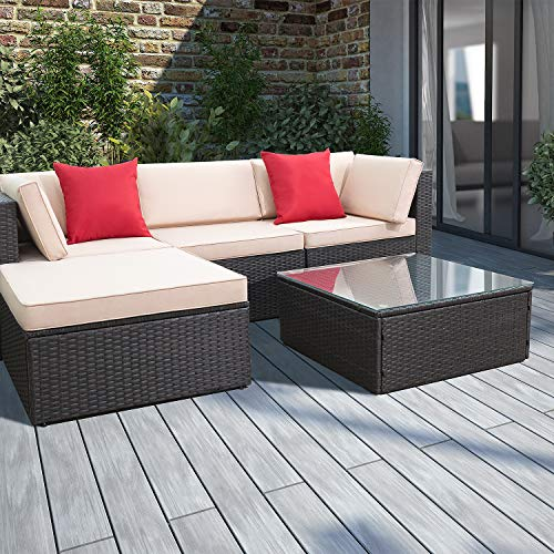 Devoko 5 Pieces Patio Furniture Sets All-Weather Outdoor Sectional Sofa Manual Weaving Wicker Rattan Patio Conversation Set with Cushion and Glass Table (Red Pillow) (Outdoor Piece Wicker Dining 5 Set)