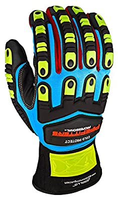 Apollo Performance Work Gloves, Pipefitters Professional Cold Protect, Thinsulate fabric for Warmth, Impact Protection, NeverSlip Technology Grip, Abrasion Protection, Touch Screen Capabilities with Lightning Touch Technology, 1 Pair, Blue