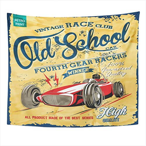 Suklly Tapestry Wall Hanging Polyester Vintage Race Car Printingvector Old School Home Decor Living Room Bedroom Dorm 50 X 60 Inches Picnic Mat Beach Towel (Dotted Knit Dress)