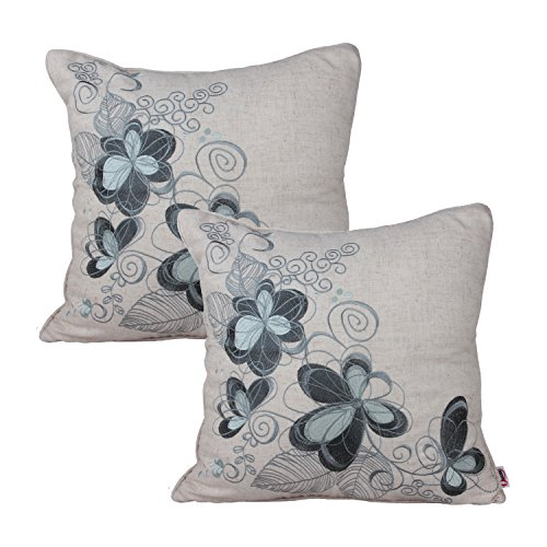 Queenie® - 2 Pc Sof Floral Embroidery on Solid Cotton Linen Background Decorative Throw Pillow Case Embroidered Throw Pillowcase Pillow Sham Cushion Covers 18 X 18 Inch 45 X 45 Cm (Pattern 4 - Blue) (Sofs Bed)