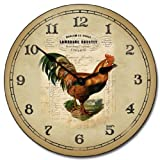 French Rooster Wall Clock, Available in 8 sizes, Most Sizes Ship 2 - 3 days, Whisper Quiet.