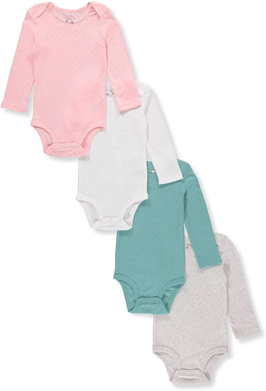 NEW CARTER/'S BABY GIRL 4 PACK LONG SLEEVE BODYSUITS MULTIPLE PATTERNS $26