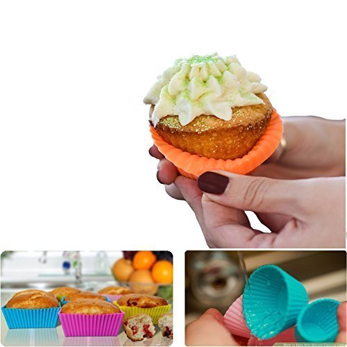 Silicone Cupcake Muffin Baking Cups Liners 36 Pack Reusable Non-Stick Cake Molds Sets by IELEK (Image #2)