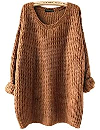 Women's Fashion Oversized Knitted Crewneck Casual Pullovers Sweater