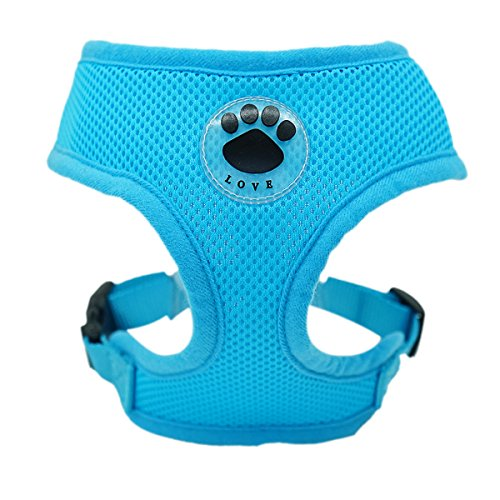 WONDERPUP Soft Mesh Dog Harness No Pull Walking Comfort Padded Vest Harnesses Adjustable (XS, Blue)