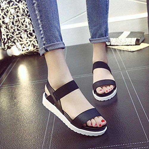sandales Fulltime®Femmes cuir plates chaussures Fashion Noir âgés en z4q4ORx