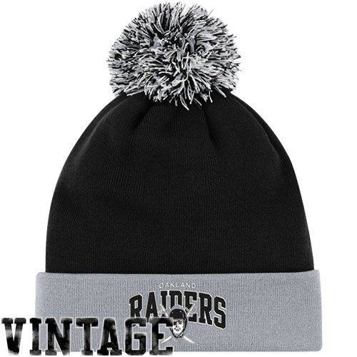 NFL Mitchell & Ness Oakland Raiders Throwback Arch and Logo Cuffed Knit Hat - Silver/Black by Mitchell & Ness (Image #3)