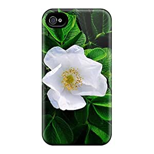 Hot LwCoZ9878kPXwk Gorgeous White Flower Tpu Case Cover Compatible With Iphone 4/4s