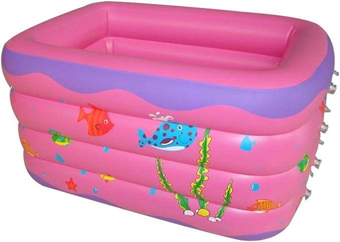 Piscinas inflables, Piscina Inflable Rosa rectángulo 4 Anillos para la Familia - Inflable Kiddie Pools Swim Center para niños140 * 110 * 70cm: Amazon.es: Deportes y aire libre