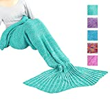 Maxchange Mermaid Tail Blanket, Handmade High Density Thick Mermaid Blanket, Soft and Warm for All Seasons, A Sweet Gift for Girlfriends - Mint Green