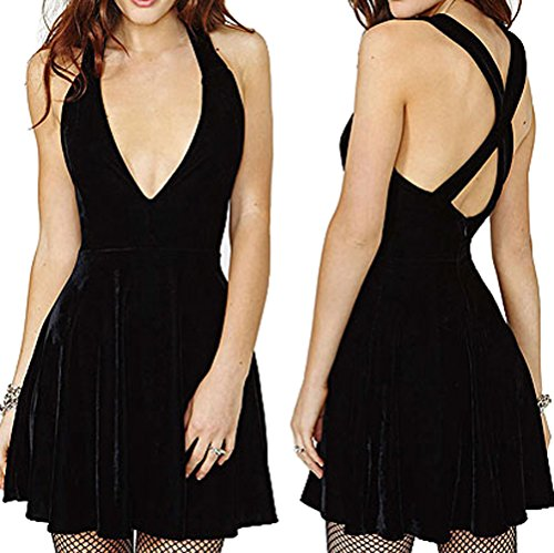 ANDI ROSE Ladies Sexy Lingerie Black Deep V Sleeveless Velvet Evening Party Club Cocktail Dress (Asian Size M)