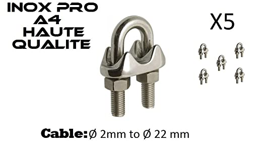 Croissant 5 Pcs Serre câble à étrier en Inox A4 pour câble acier/inox de Ø LD-44