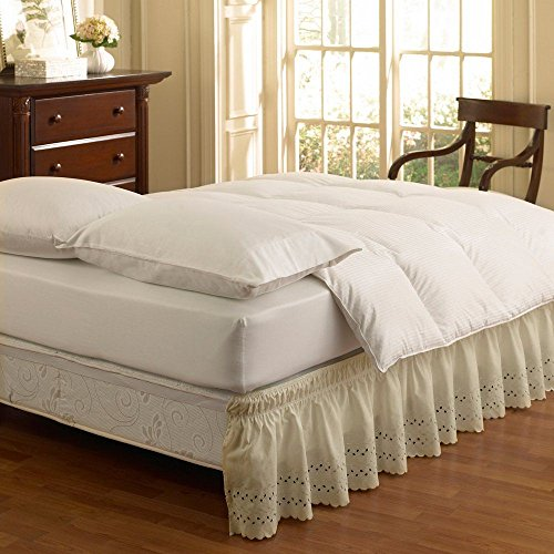 EasyFit Wrap Around Eyelet Ruffled Bed Skirt, Grey