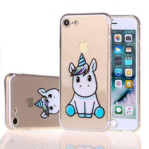Coque iPhone 7 Mignonne Licorne Souple TPU Silicone Ultra Mince Transparent Protection Housse Case Pour Apple iPhone 7 / iPhone 8 (4,7 Pouces)