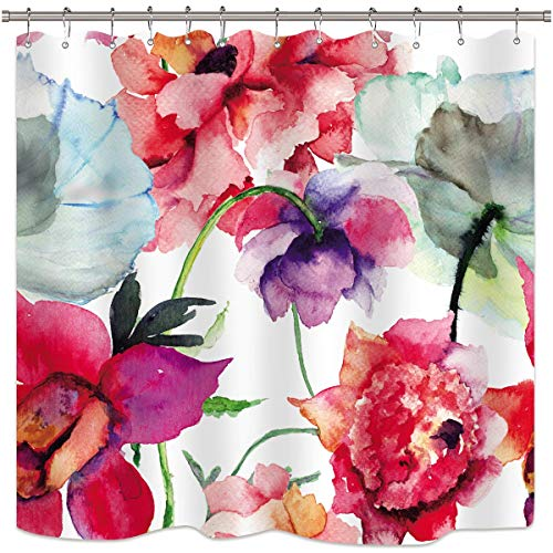 Watercolor Floral Shower Curtain Colorful Flower Peony Red