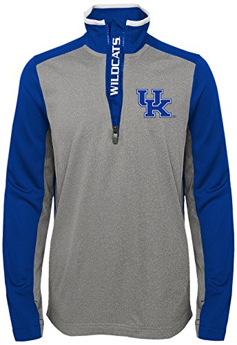 Kentucky Light Wildcats (OuterStuff NCAA Youth Boys Matrix 1/4 Long Sleeve Zip Top Kentucky Wildcats-Light Charcoal, Youth Boys Large(14-16))