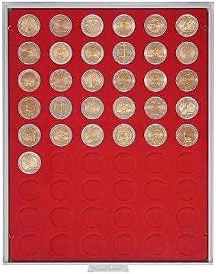 Bandeja de monedas 54 compartimentos, cada uno de 25,75 mm Ø [Lindner 2154], por ejemplo para 2 Euro, 1/2 onza Maple Leaf (oro) - Versión: Standard (Gris / Pantalla roja): Amazon.es: Juguetes y juegos