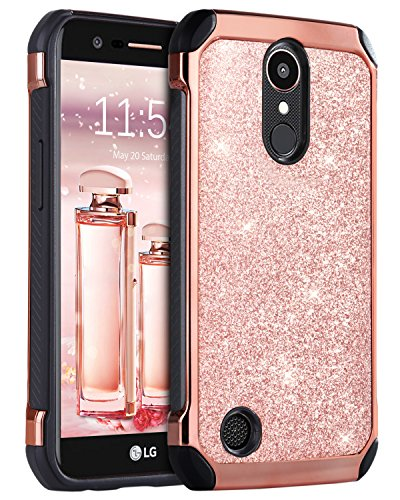 LG K20 Plus Case, LG Harmony/LG K20 /LG K10 2017 / LG LV5 Case, BENTOBEN Luxury Glitter Shockproof Hybrid 2 in 1 Faux Leather Protective Case for LG K20 Plus/LG K20 V/LG K20/LG K10/LG LV5, Rose Gold