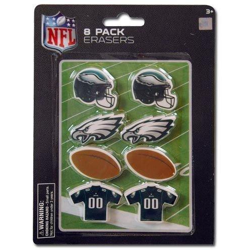 Eagles Pencil - NFL Philadelphia Eagle 8pk Shaped Erasers on Blister Card