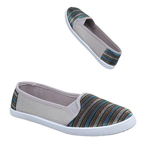 Ital-Design Damen Schuhe, C27-9, Halbschuhe Slipper Grau