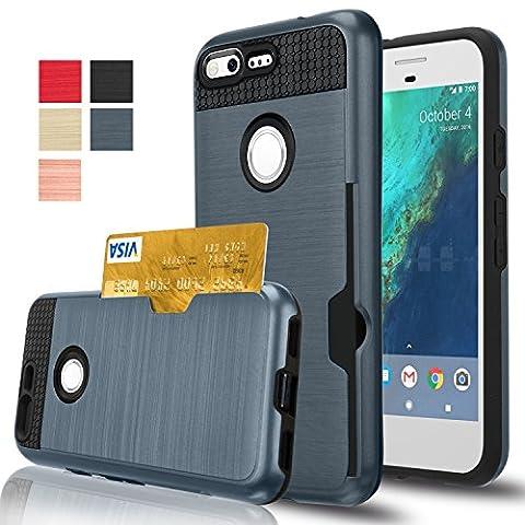 Google Pixel XL Case, AnoKe [Credit Card Slots Holder][Not Wallet] Hard Silicone Rubber Hybrid Armor Shockproof Protective Case For Google Pixel XL 2016 KLS Metal (Nexus 4 Anime Case)