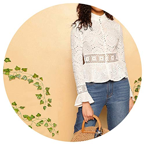 (White Guipure Lace Insert Embroidered Eyelet Peplum Top Blouse Women Long Sleeve Slim Fit Blouses,White,S)