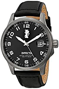 Invicta Men's 15256 I-Force Gunmetal Ion-Plated Stainless Steel Watch with Black Leather Strap