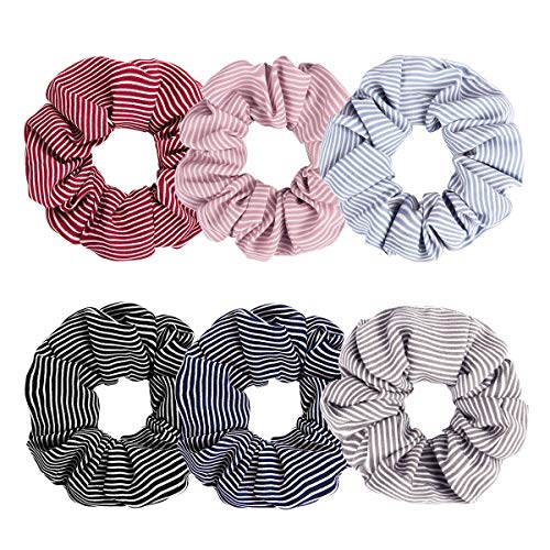 - Ondder 6 Pack Large Chiffon Hair Scrunchies Striped Scrunchie Hair Bow Chiffon Ponytail Holder Hair Accessories for Girl Women, 6 Colors