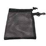 Golf Balls Bag Nylon Mesh Nets Bag with Drawstring Closure and Hook up Carrying Holder Storage for Golf Tennis Balls Swimming Beach Black