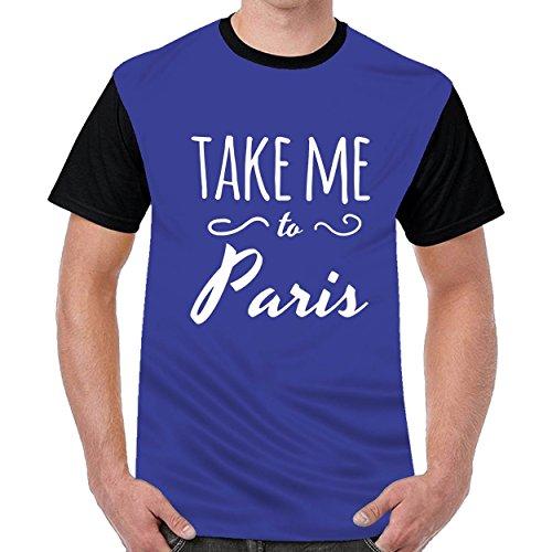 YLcabin Take Me To Paris Men Printed Crew Neck t Shirts Top Blouse Shirt Blue