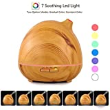 Vividay Cool Mist Humidifier Ultrasonic Essential Oil Diffuser Wood Grain Aromatherapy Diffuser Yoga Office Home Bedroom Living Room Study 400ml