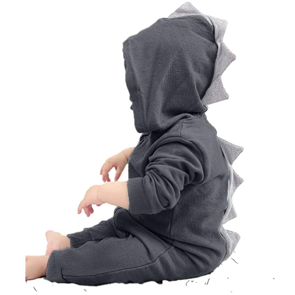 Tanhangguan Infants Toddler Baby Girls Boys Dinosaur Romper Long Sleeve Hoodies Zip Clothes Jumpsuit 0-18m