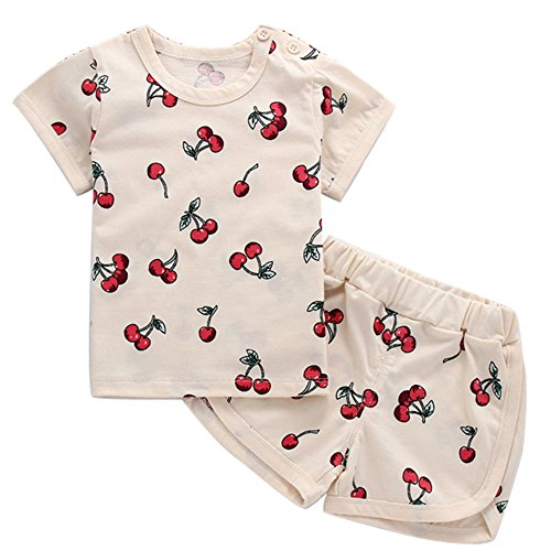 DoMii Infant Baby Boy Girl Summer Clothes Cute Pineapple Cherry Print Outfit Cotton Tee and Shorts Set Cherry 6-12M - Outfit Designer