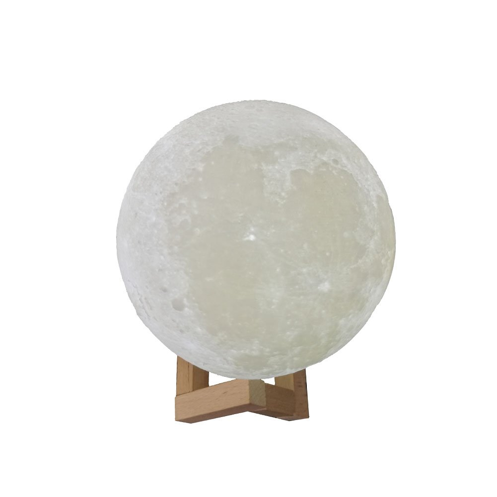 Awesomes 3D Printed LED Moon Night Light Rechargeable Touch (2-Color, 9.4'' (24cm))