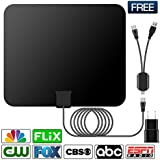 HDTV Antenna,Indoor Amplified TV Antenna 50-80 Miles Range with Detachable Amplifier Signal Booster and 16 Feet Coaxial Cable (Black)