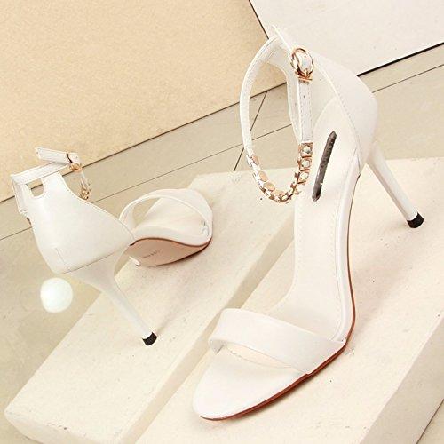 KPHY Sandalen 10 Cm Heels High Heels Cm Dünnen Absätzen Sommer Zehen Kleine Frische Schnallen Meine Schuhe. Weiß 0cef78