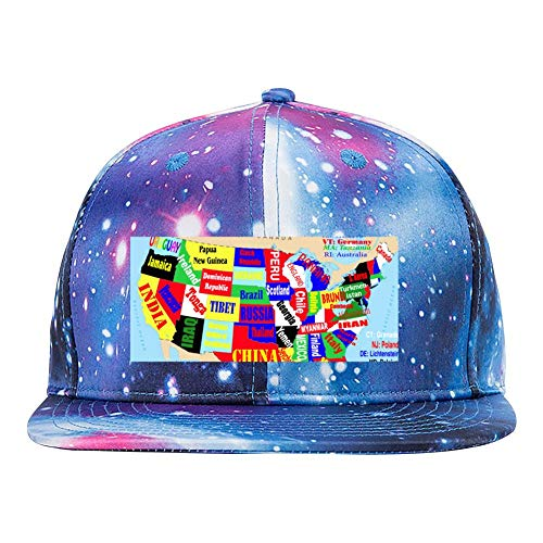 HATSHO U.S.Map Baseball Cap Sports Hat Fashion Leisure Adult Blue - Sport 2dr Step