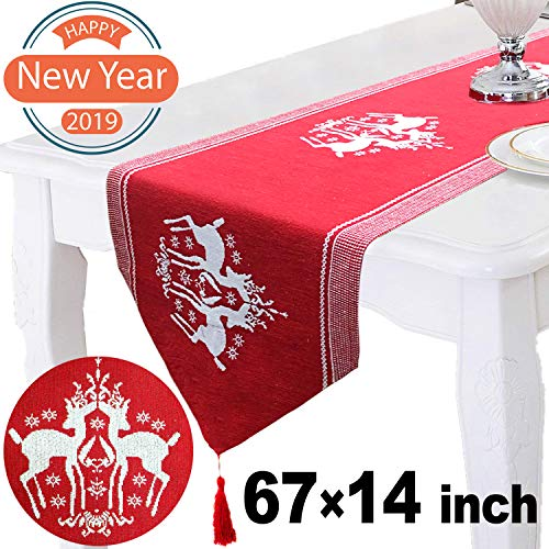 Nekbow Christmas Table Runner Reindeer Rectangular Cotton 67 x 14 inch Red Table Linens Christmas Decorations for Home Kitchen White Elk Table Covers Indoor Xmas Decorations